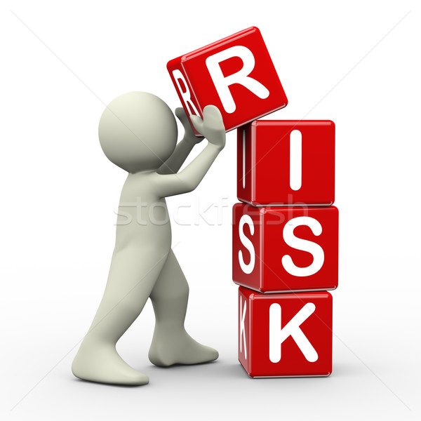 3d man placing risk cubes Stock photo © nasirkhan