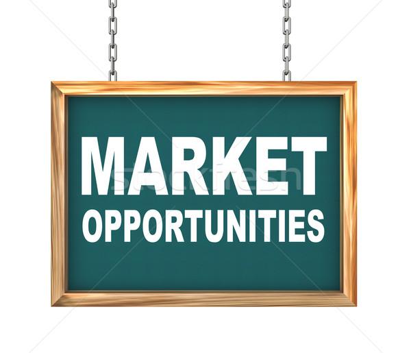 3d hanging banner - market opportunities Stock photo © nasirkhan