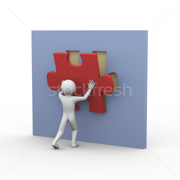 3d man and puzzle solution Stock photo © nasirkhan