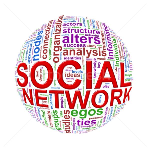 Wordcloud word tags ball of social network Stock photo © nasirkhan