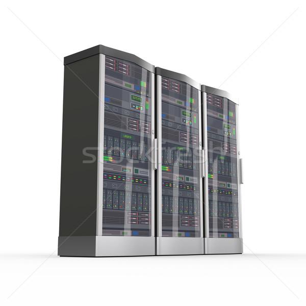 3d set of computer network servers Stock photo © nasirkhan