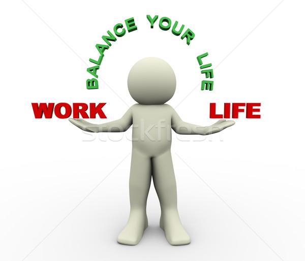 3d man - balance your life Stock photo © nasirkhan