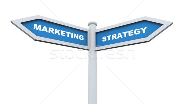 Estratégia de marketing 3d render placa sinalizadora negócio contato Foto stock © nasirkhan