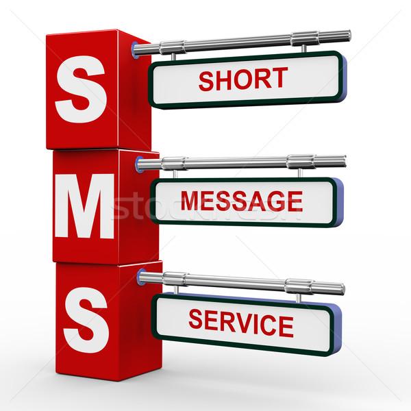 3d modern signboard of sms Stock photo © nasirkhan