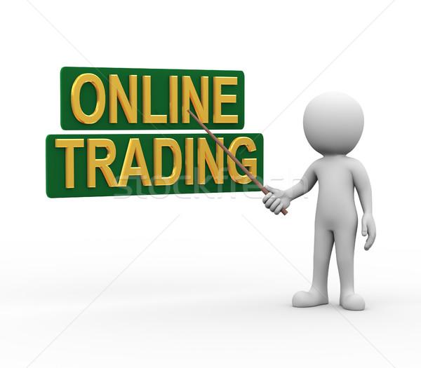 3d man presenteren uitleggen online handel 3D Stockfoto © nasirkhan