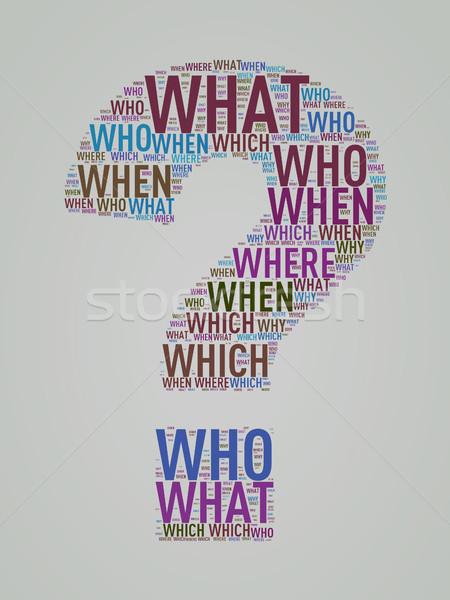 Question mark shape wordcloud wordtags Stock photo © nasirkhan