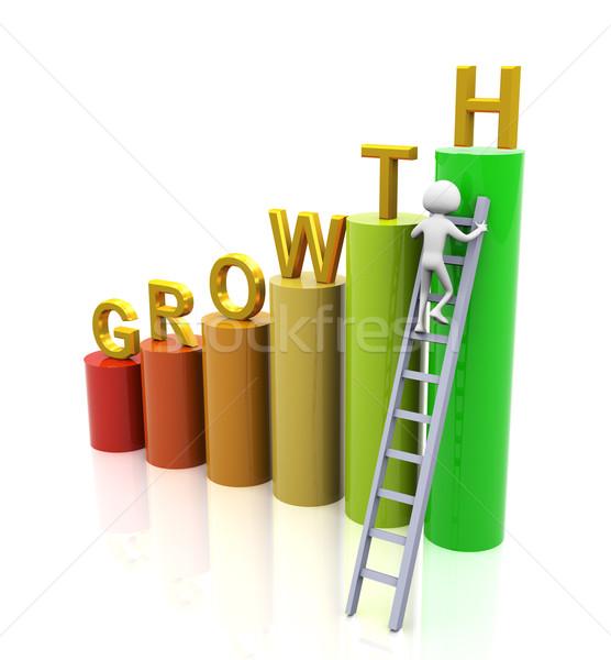 Groei 3d man klimmen ladder man zakenman Stockfoto © nasirkhan