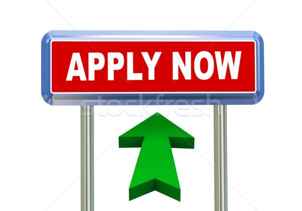 3d arrow road sign - apply now Stock photo © nasirkhan