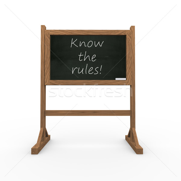 3d black chalkboard know the rules Stock photo © nasirkhan