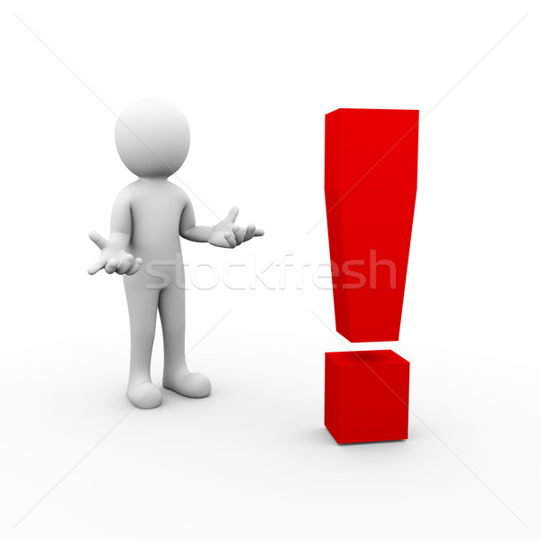 3d surprise man and exclamation mark symbol Stock photo © nasirkhan