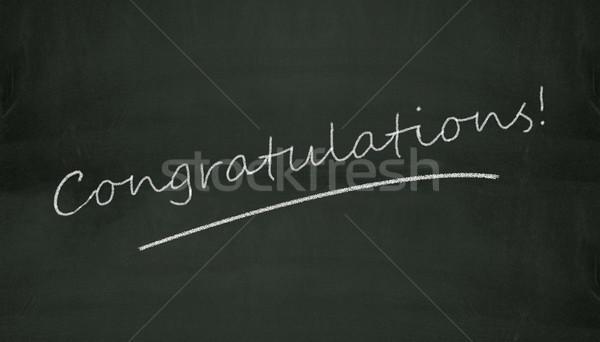Schoolbord felicitatie illustratie geschreven zwarte opleiding Stockfoto © nasirkhan