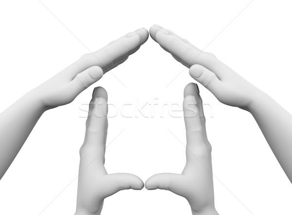 3d hands house symbol illustration Stock photo © nasirkhan