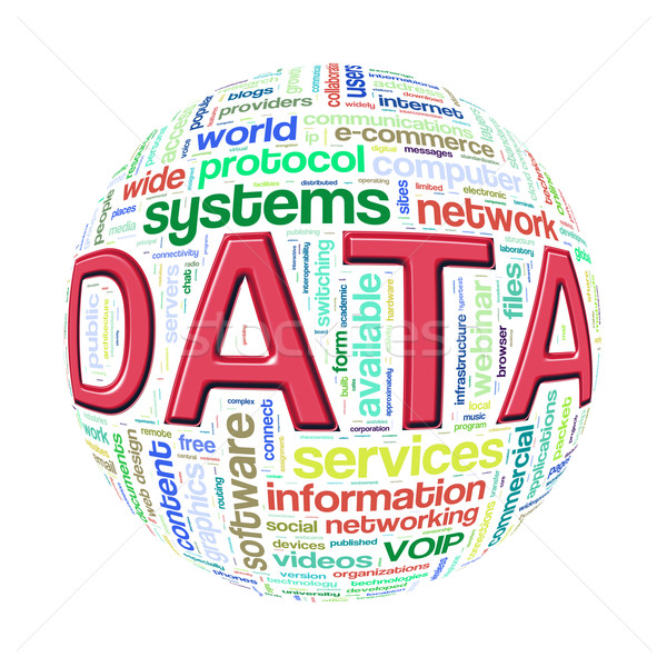 Wordcloud word tags ball of data Stock photo © nasirkhan