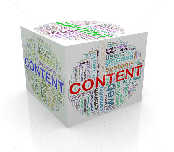 3D cube mot contenu Photo stock © nasirkhan