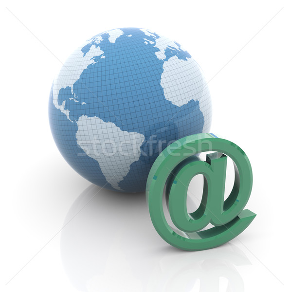Globe and email sign Stock photo © nasirkhan