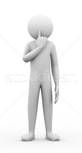 3d man silence gesture pose Stock photo © nasirkhan