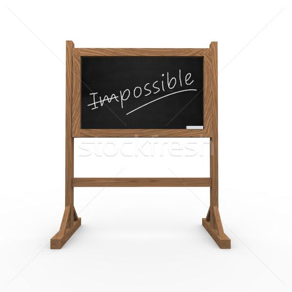 3D zwarte schoolbord woord onmogelijk Stockfoto © nasirkhan