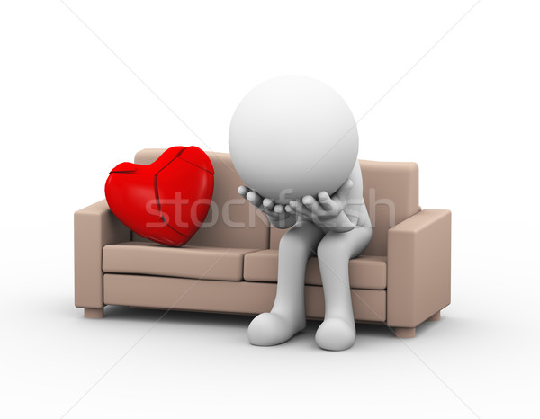 3d sad loser lover with broken heart on couch Stock photo © nasirkhan