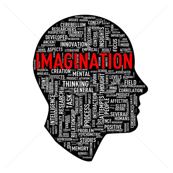 Emberi fej szófelhő címkék képzelet illusztráció Stock fotó © nasirkhan