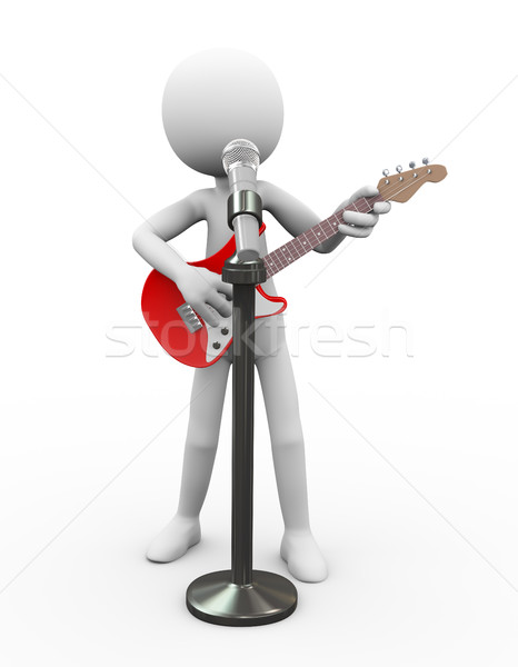 Stock photo: 3d electric guitarist singing song in a mic