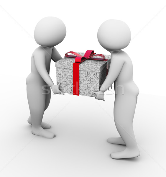 3d men carrying giftbox Stock photo © nasirkhan