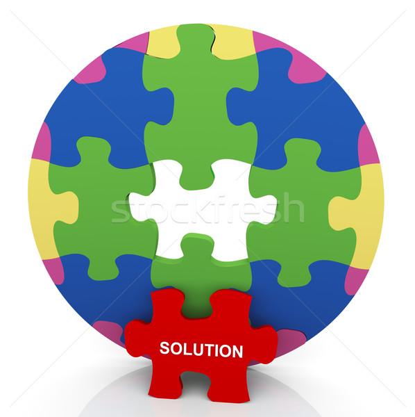3d circle puzzle solution Stock photo © nasirkhan