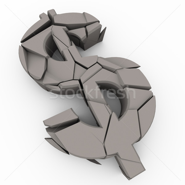 3d cracked dollar sign Stock photo © nasirkhan