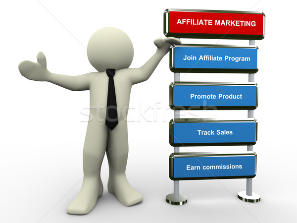 3d man affiliate marketing Stock photo © nasirkhan