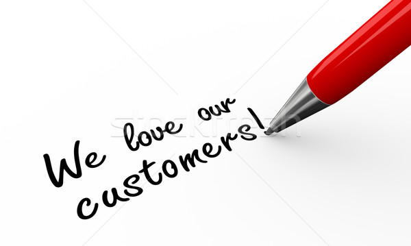 3d pen writing we love our customers Stock photo © nasirkhan