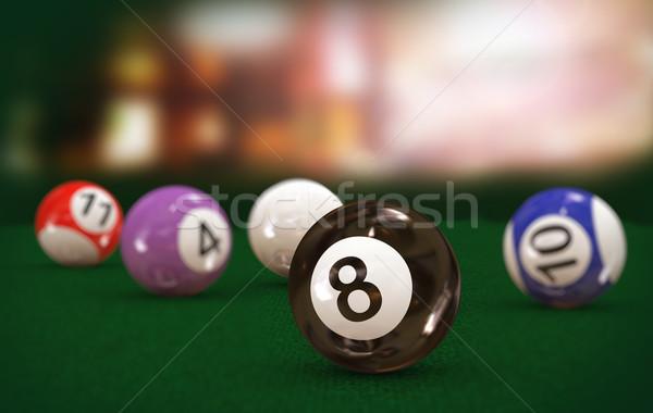 3d eight black billiard pool ball Stock photo © nasirkhan