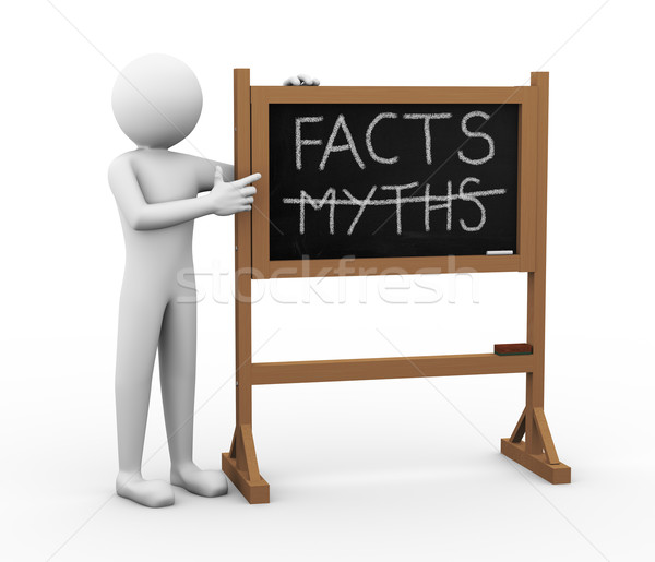 3d man facts and myths Chalkboard illustration Stock photo © nasirkhan
