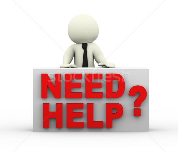 3d személy szükség segítség 3d render férfi támogatás Stock fotó © nasirkhan