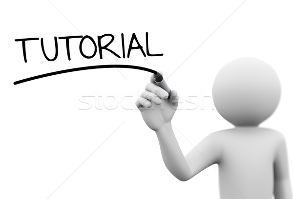 3d person writing tutorial on transparent screen Stock photo © nasirkhan
