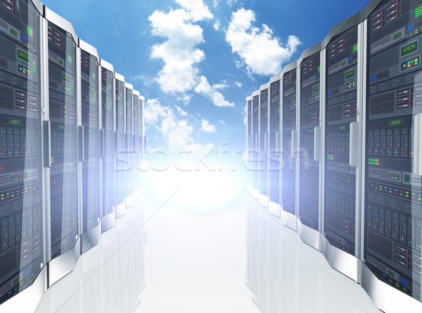 3d rows network servers datacenter on sky cloud background Stock photo © nasirkhan