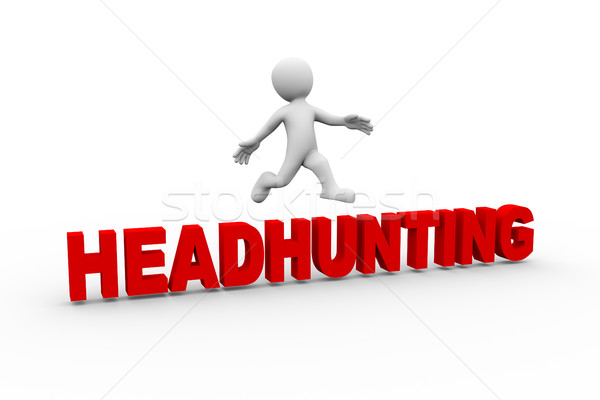 3d man jumping from headhunting  Stock photo © nasirkhan