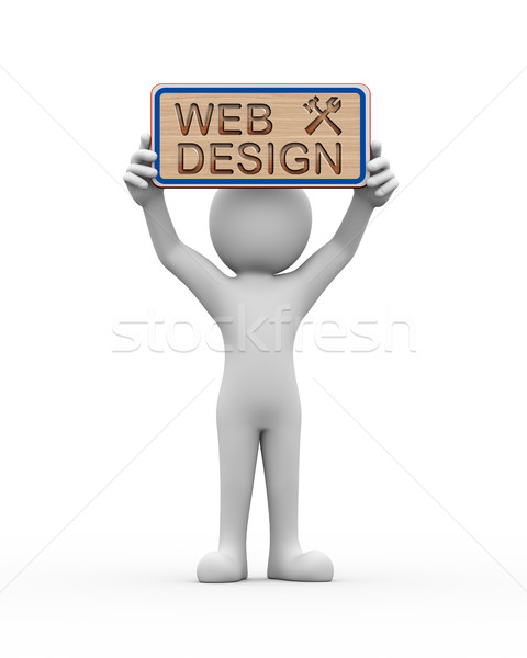 3d man holding engraved banner word text web design Stock photo © nasirkhan
