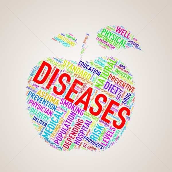 Stock photo: Healthcare apple shape wordcloud diseases