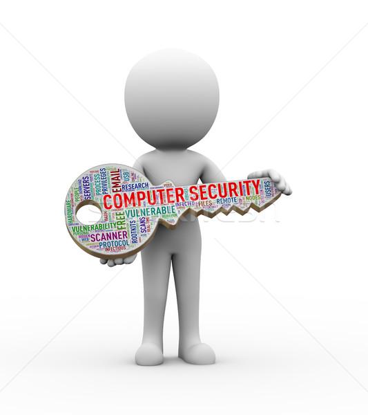 3d man holding computer security key wordcloud Stock photo © nasirkhan