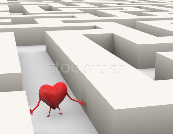3d heart lost in maze illustration Stock photo © nasirkhan