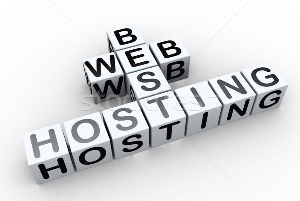 Stockfoto: Best · web · hosting · 3d · render · kruiswoordraadsel · tekst