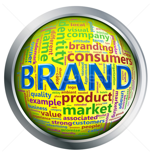 Shiny button of 'brand' wordcloud Stock photo © nasirkhan