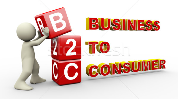 3d man and b2c cubes Stock photo © nasirkhan