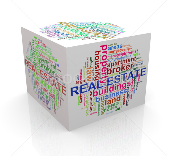3d cube word tags wordcloud of real estate Stock photo © nasirkhan