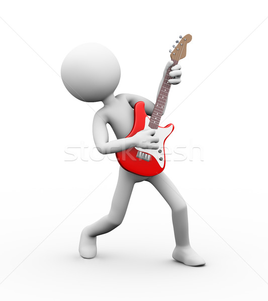 3d guitarist playing electric guitar Stock photo © nasirkhan