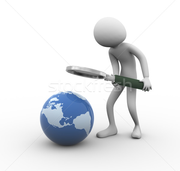 3d man globe searching Stock photo © nasirkhan