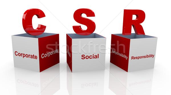 3D corporate sociale verantwoordelijkheid dozen Open Stockfoto © nasirkhan