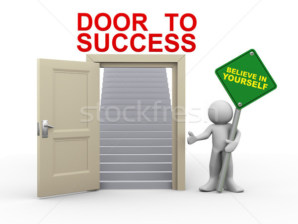 3d man and door to success Stock photo © nasirkhan