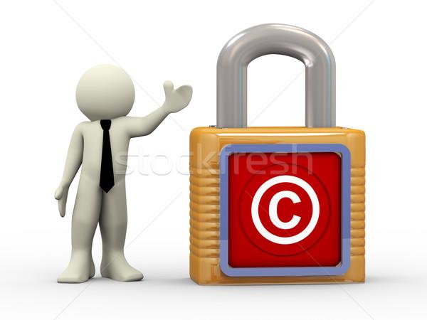 3d ember szerzői jog szimbólum lakat 3d illusztráció személy Stock fotó © nasirkhan
