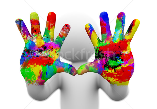 3d watercolor painted coloful hands illustration. Stock photo © nasirkhan