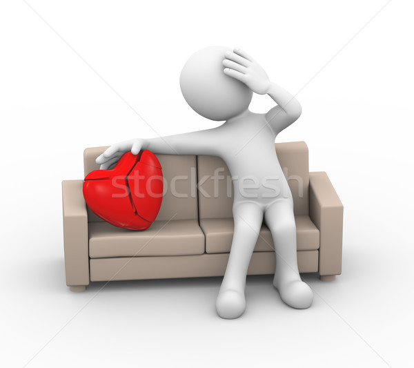 3d loser sad lover with broken heart on couch Stock photo © nasirkhan